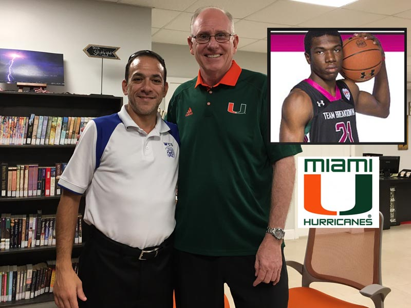 Coach Jim Larranaga of University of Miami meets with Coach Jose Amat